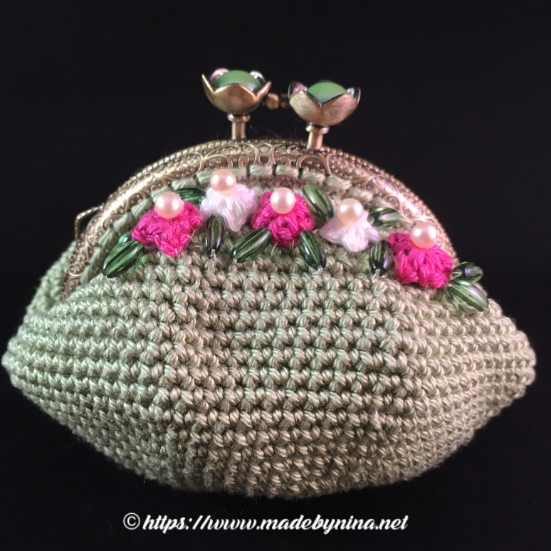 *Green and floral coin purse