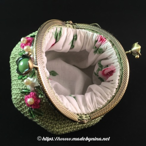 *Green and floral coin purse (inside)