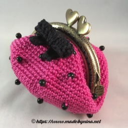 Pink 'n Black bow *Coin Purse (side)