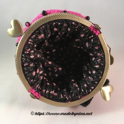 Pink 'n Black bow *Coin Purse (Inside)
