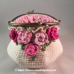Mom's Cream 'n Rose *coin purse (Open)