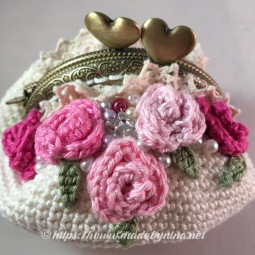 Fran's Cream 'n Rose *Coin Purse (Close up)