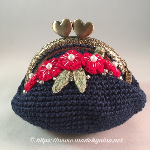 Belle's Blue with red floral *Coin Purse