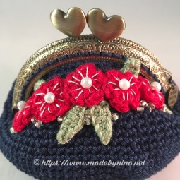 Belle's Blue with red floral *Coin Purse (Close up)