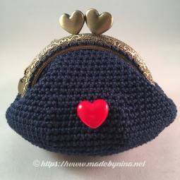 Belle's Blue with red floral *Coin Purse (Back)
