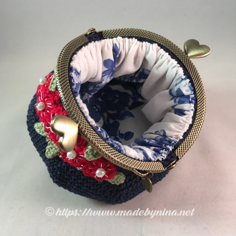 Belle's Blue with red floral *Coin Purse (Inside)