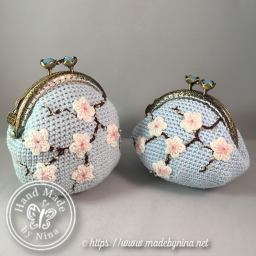 Blue Cherry Blossom *Card Purse and *Coin Purse