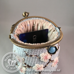 Blue Cherry Blossom *Card Purse (Inside)