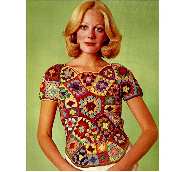 Granny Square 70's top (pattern cover)