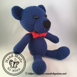 Navy Teddy Bear (Side)