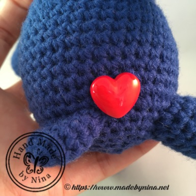 Navy Teddy Bear (Heart Button)