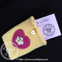 Yellow heart *Card holder (with card)