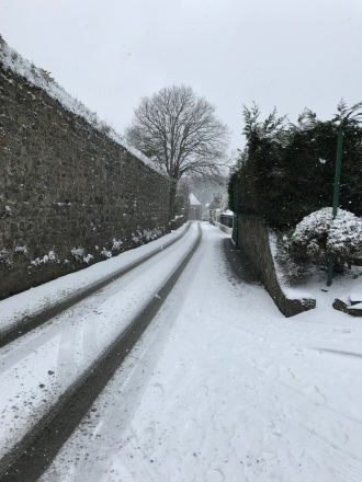Guernsey snow 2018 - icy slope to my house