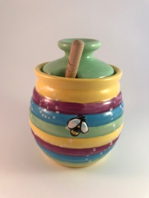 Spring Honey Pot🍯 and spoon - completed (front)