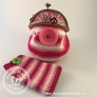 Button *Card Purse and Pink Stripe *Card pouch