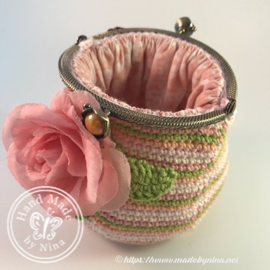Peach Rose *Card Purse (Open fm side view)
