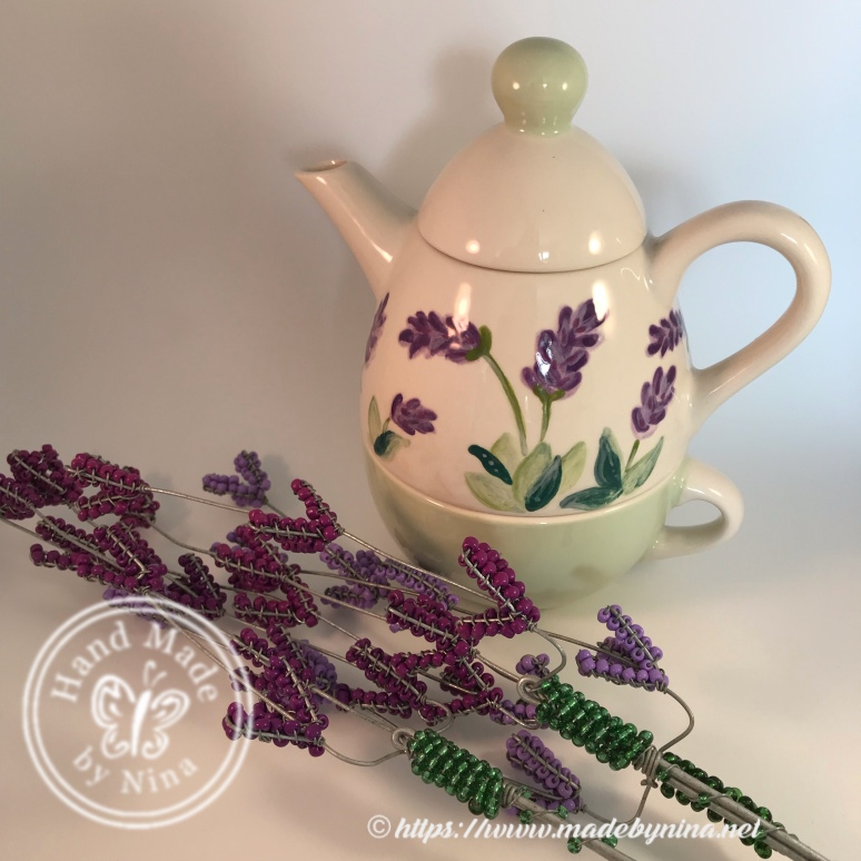 Lavender tea-for-one with beaded flowers