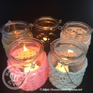 Crochet tea light jar with handle group
