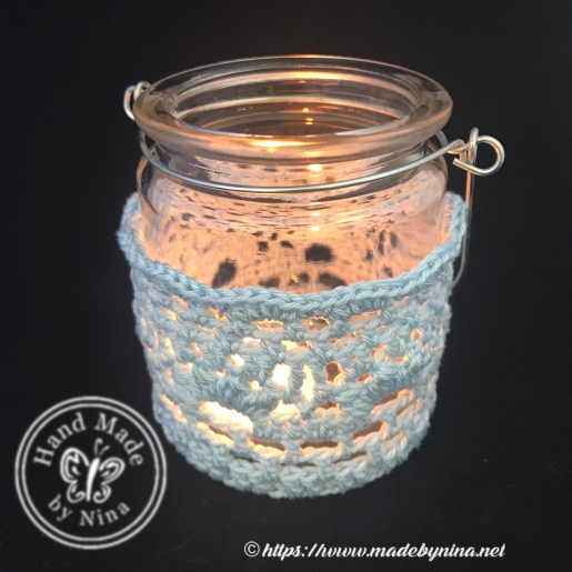 Crochet tea light jar with handle powder blue