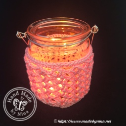 Crochet tea light jar with handle pink