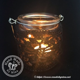 Crochet tea light jar with handle black
