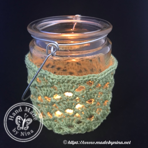 Crochet tea light jar with handle mint