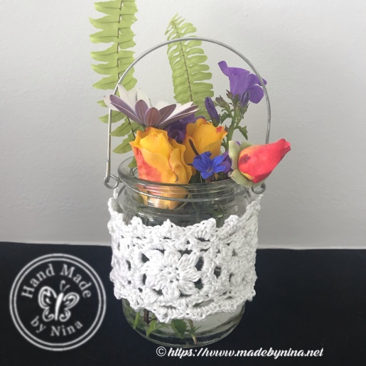 Crochet tea light jar with handle alternate use