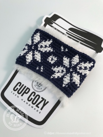 Christmas Cup Cozy - Navy Fair isle